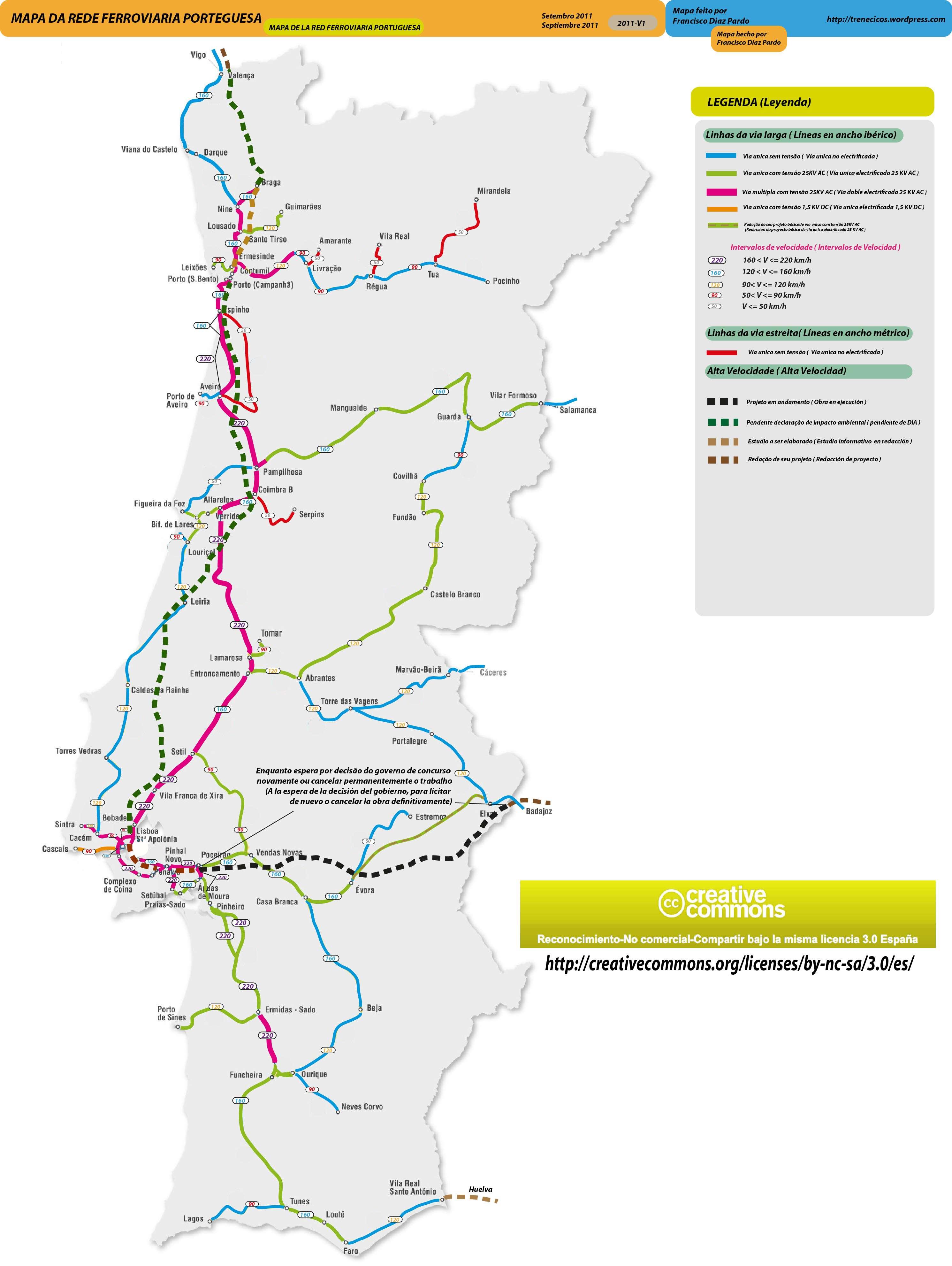 mapa rede ferroviaria portugal Mapa da rede ferroviária em Portugal   SkyscraperCity mapa rede ferroviaria portugal