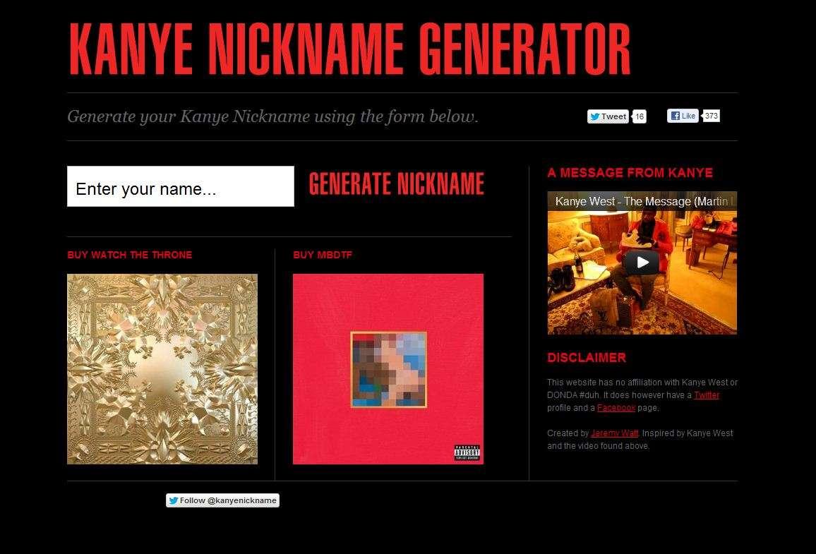 RANDOM SHEEEEEEEEET!!!!: KANYE WEST NAME GENERATOR   MY NAME IS